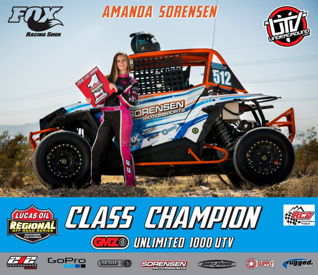 amanda sorensen wins the lucas oil utv championship